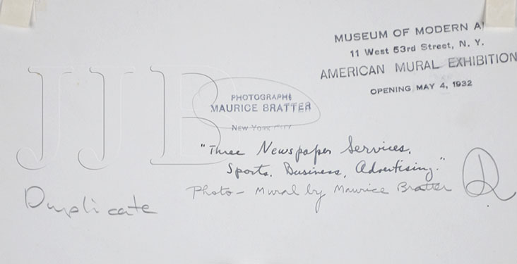 Maurice Bratter  - Back of photograph with signature(Large)