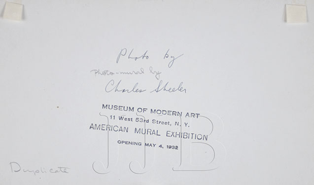 Charles Sheeler  - Back of photograph with signature(Large)